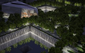 911 memorial at night
